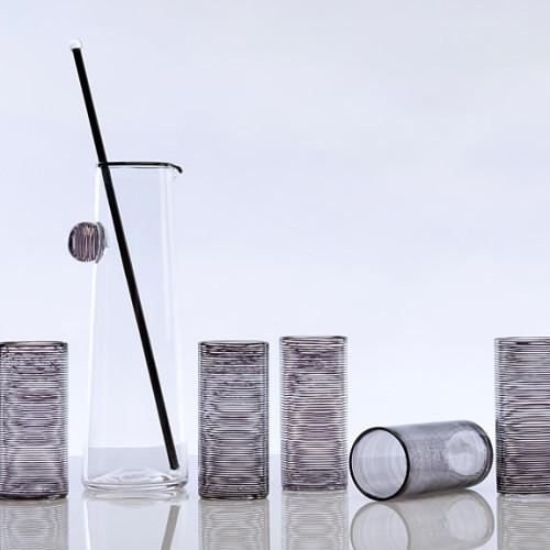 Spiral Pitcher & Cups, black