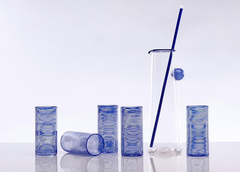 Spiral Pitcher & Cups, blue