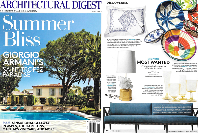 Two Tone Studios in Architectural Digest